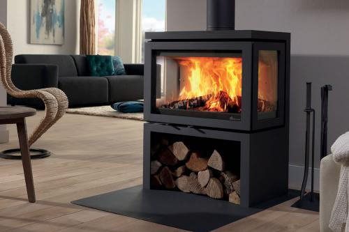 po le bois fonte flamme vidar triple et vidar wall. Black Bedroom Furniture Sets. Home Design Ideas